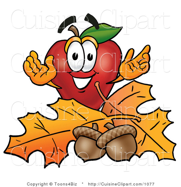 Cuisine Clipart of a Nutritious and Outdoorsy Red Apple Character Mascot with Acorns and Fall Leaves in Autumn
