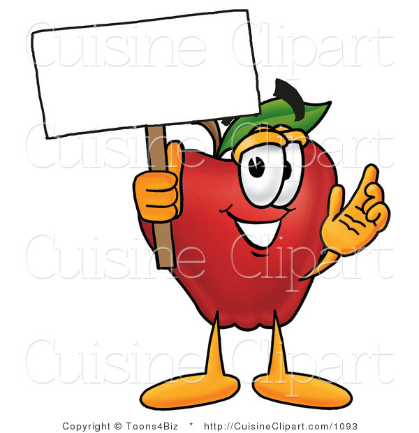 Cuisine Clipart of a Nutritious Red Apple Character Mascot Holding a Blank White Sign over His Head
