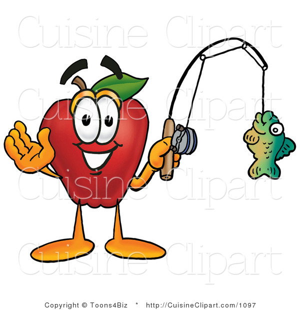 Cuisine Clipart of a Nutritious Red Apple Character Mascot Holding a Fish on a Fishing Pole