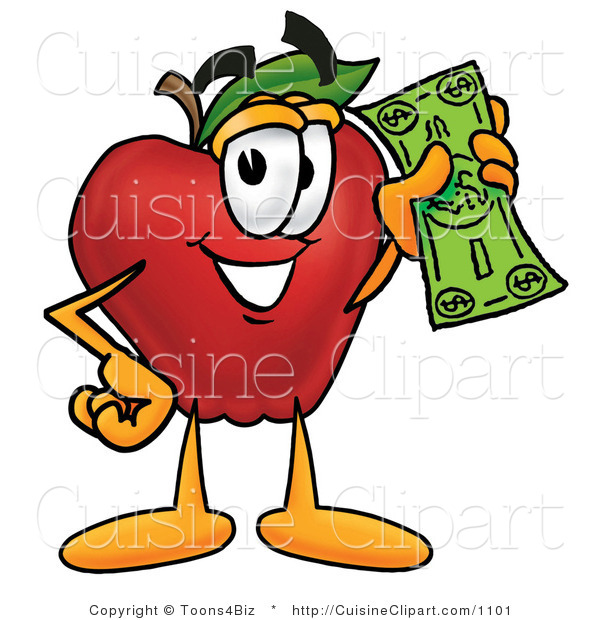Cuisine Clipart of a Nutritious Red Apple Character Mascot Holding a Green Dollar Bill, Paying or Saving