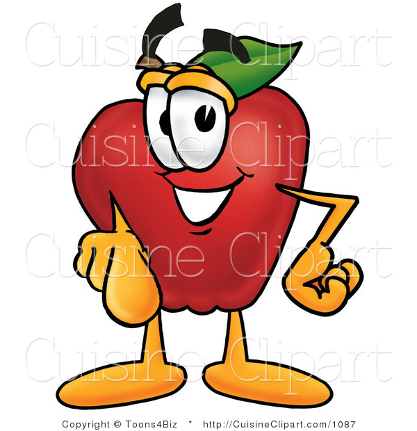Cuisine Clipart of a Nutritious Red Apple Character Mascot Pointing at the Viewer