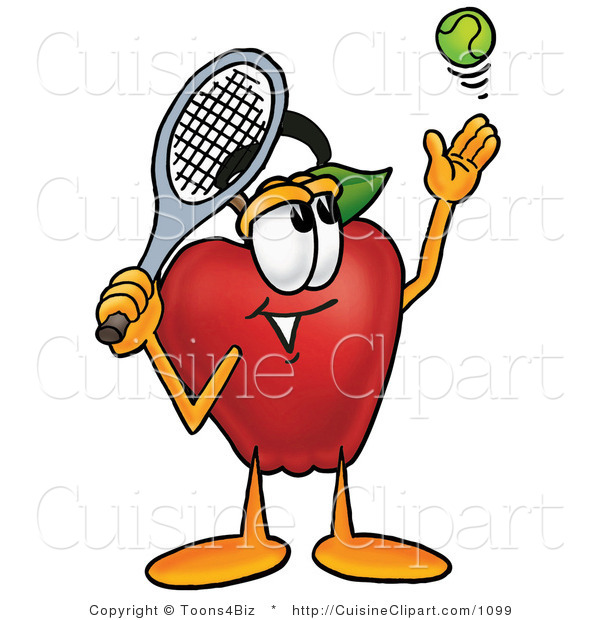 Cuisine Clipart of a Nutritious Red Apple Character Mascot Preparing to Hit a Tennis Ball