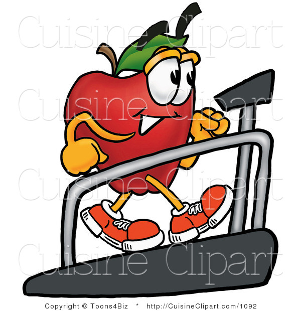 Cuisine Clipart of a Nutritious Red Apple Character Mascot Walking on a Treadmill in a Fitness Gym