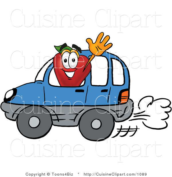 Cuisine Clipart of a Nutritious Red Apple Character Mascot Waving While Driving by in a Blue Car
