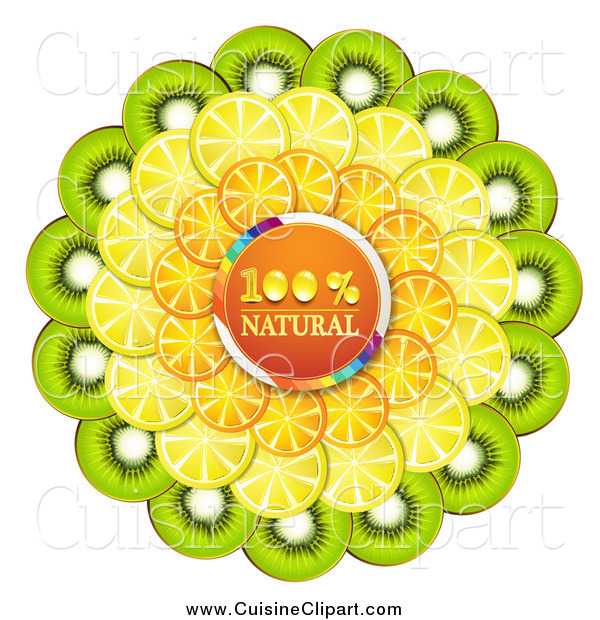 Cuisine Clipart of a Orange Natural Circle with Orange Kiwi and Lemon Slices