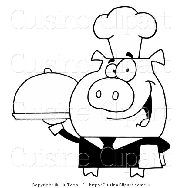 Cuisine Clipart of a Outlined Waiter Pig Holding a Meal on a Serving Tray