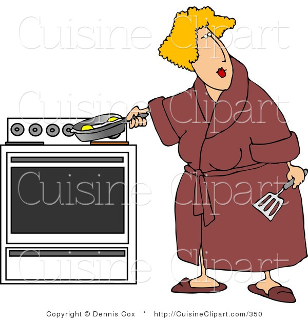 Cuisine Clipart of a Overweight Woman Cooking Eggs in a Skillet on a Stove While Wearing a Red Robe
