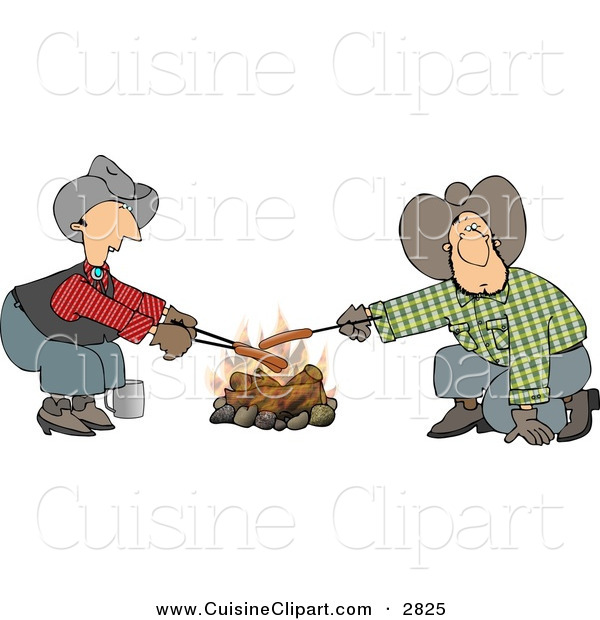 Cuisine Clipart of a Pair of Gay Cowboys Cooking Hot Dogs over a Campfire - Weeny Roast