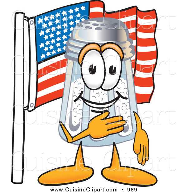 Cuisine Clipart of a Patriotic Salt Shaker Mascot Cartoon Character Pledging Allegiance to an American Flag