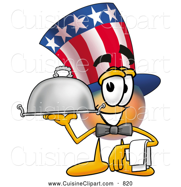 Cuisine Clipart of a Patriotic Uncle Sam Mascot Cartoon Character Dressed As a Waiter and Holding a Serving Platter