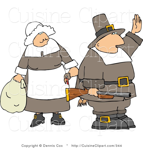 Cuisine Clipart of a Pilgrim Man Holding up a Hand and Standing by a Woman
