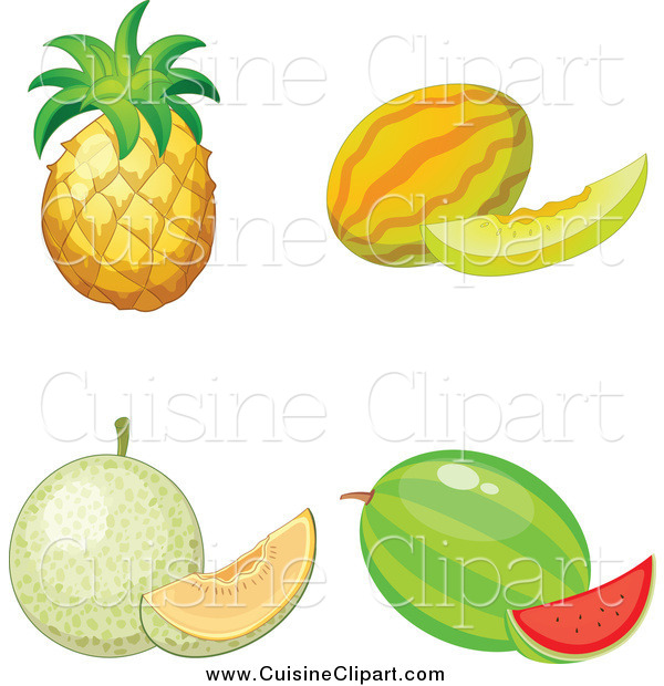 Cuisine Clipart of a Pineapple Melon Cantalope and Watermelon
