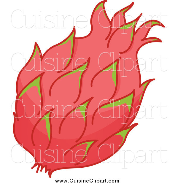 Cuisine Clipart of a Pink and Green Dragon Fruit