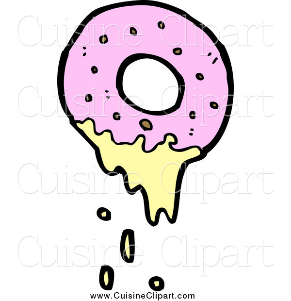 Cuisine Clipart of a Pink Donut Dripping with Frosting