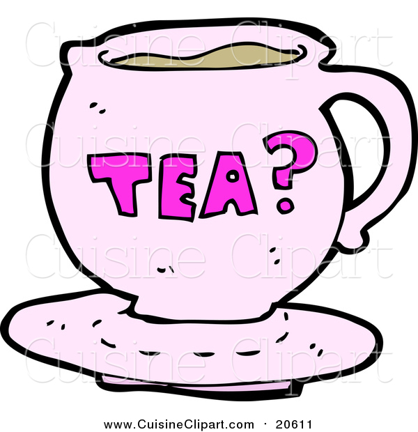 Cuisine Clipart of a Pink Tea Cup with Text