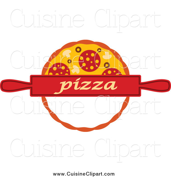 Cuisine Clipart of a Pizza Pie and Rolling Pin