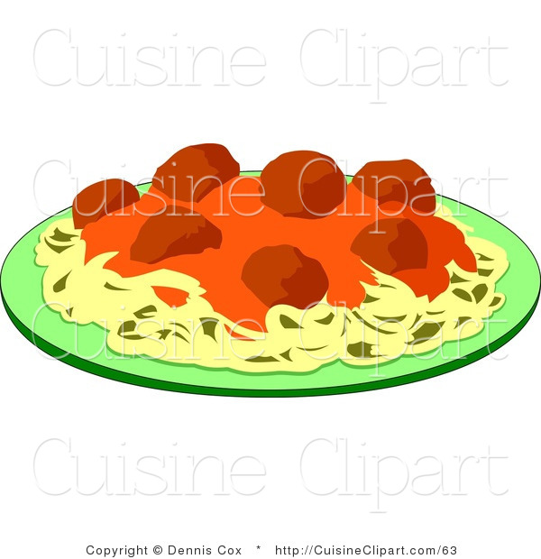 Cuisine Clipart of a Plate of Spaghetti and Meatballs