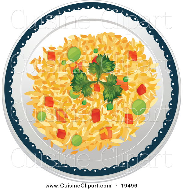 Cuisine Clipart of a Plate of Vegetable Fried Rice
