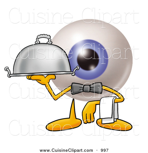 Cuisine Clipart of a Professional Eyeball Mascot Cartoon Character Dressed As a Waiter and Holding a Serving Platter