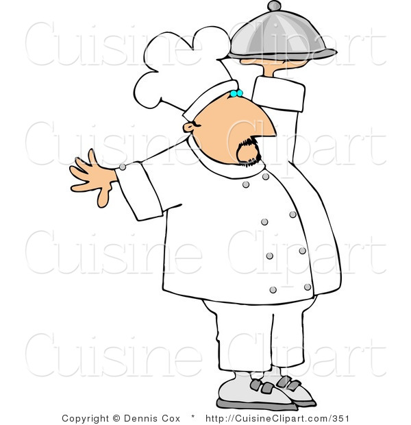 Cuisine Clipart of a Professional Male Cook Carrying a Covered Serving Plate