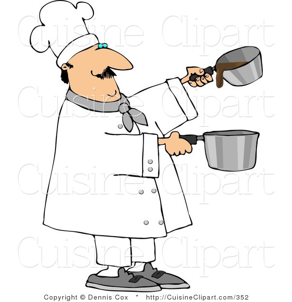 Cuisine Clipart of a Professional Male Cook Making Gravy