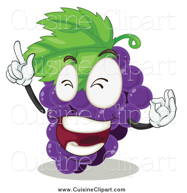 Cuisine Clipart of a Purple Grapes Character Rocking out