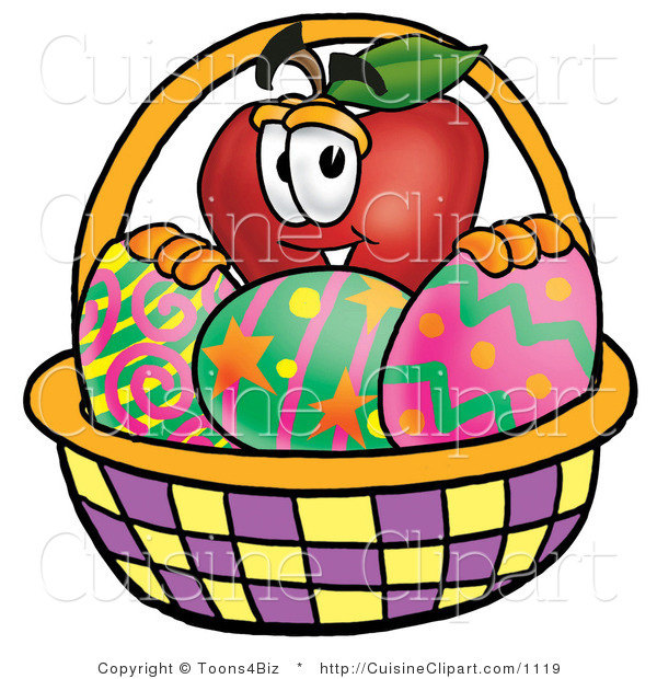 Cuisine Clipart of a Red Apple Character Mascot Behind an Easter Basket Full of Decorated Easter Eggs