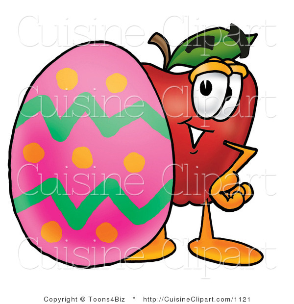 Cuisine Clipart of a Red Apple Character Mascot Standing Behind an Easter Egg