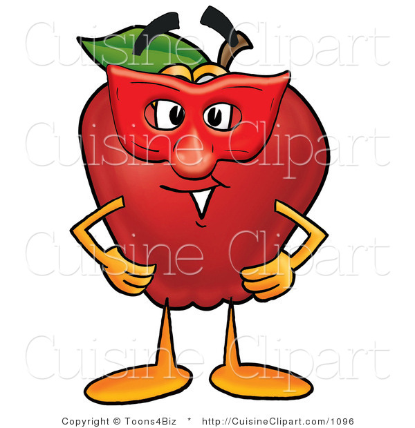 Cuisine Clipart of a Red Apple Character Mascot Wearing a Red Mask for a Masquerade