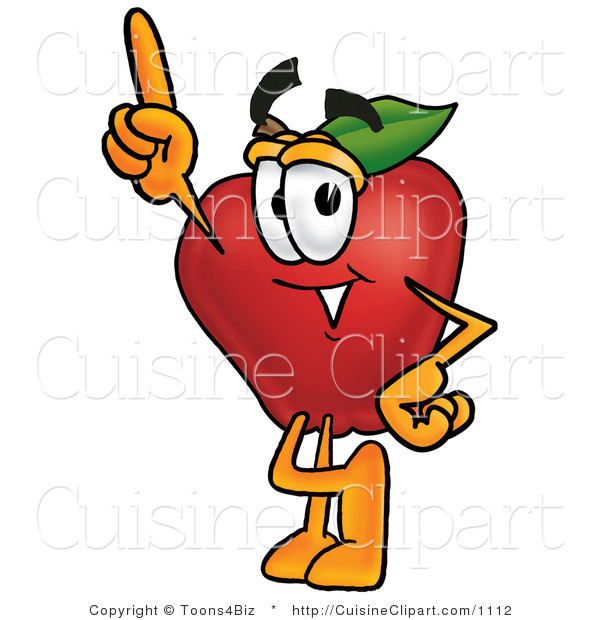 Cuisine Clipart of a Red Apple Produce Character Mascot Pointing Upwards