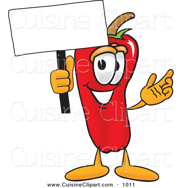 Cuisine Clipart of a Red Chili Pepper Mascot Cartoon Character Holding a Blank White Sign