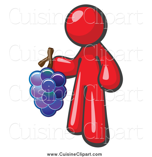 Cuisine Clipart of a Red Vintner Wine Maker Holding Grapes