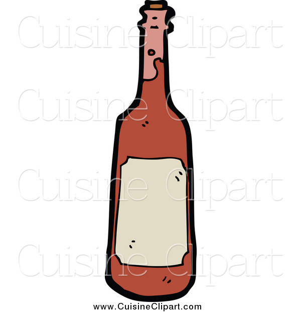 Cuisine Clipart of a Red Wine Bottle and Blank Label