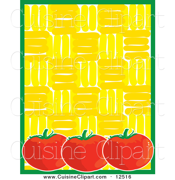 Cuisine Clipart of a Ripe Red Tomatoes with Green Yellow Background Menu