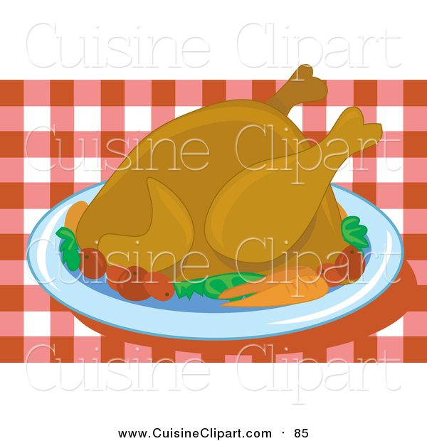 Cuisine Clipart of a Roasted Thanksgiving Turkey Bird Served on a Platter with Vegetables over a Red and White Checkered Table Cloth