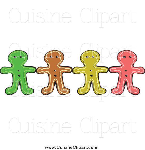 Cuisine Clipart of a Row of Colorful Gingerbread Men Holding Hands
