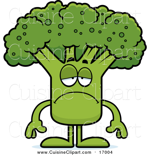 Cuisine Clipart of a Sad Broccoli Mascot