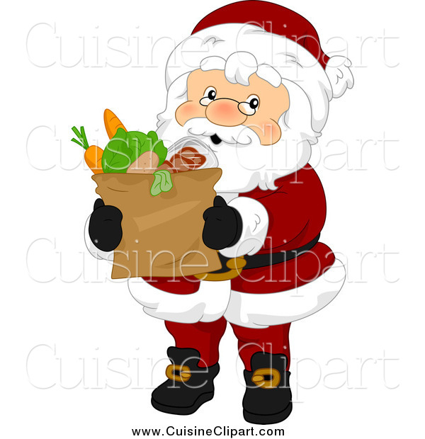 Cuisine Clipart of a Santa Claus Carrying a Paper Bag of Groceries