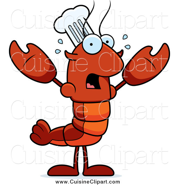 Cuisine Clipart of a Scared Chef Lobster or Crawdad
