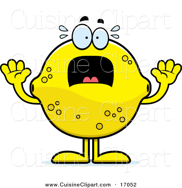 Cuisine Clipart of a Screaming Lemon Mascot