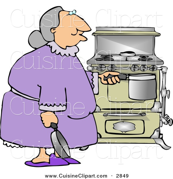 Cuisine Clipart of a Senior Citizen Woman Preparing to Cook a Home Cooked Meal