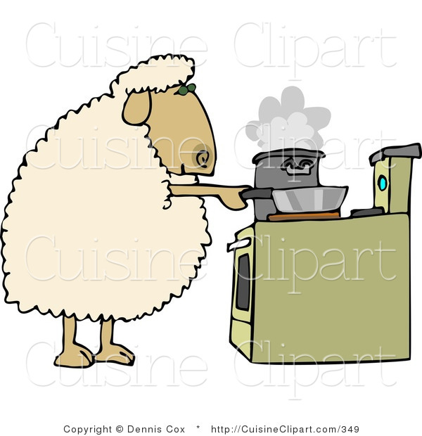 Cuisine clipart of a sheep cooking dinner in pots on a for Art cuisine cookware