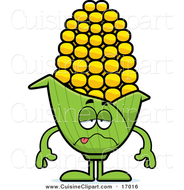 Cuisine Clipart of a Sick Corn Character