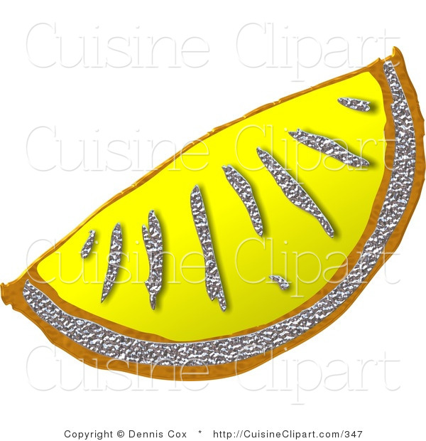 Cuisine Clipart of a Silver Metal Fruit Lemon Slice/Wedge