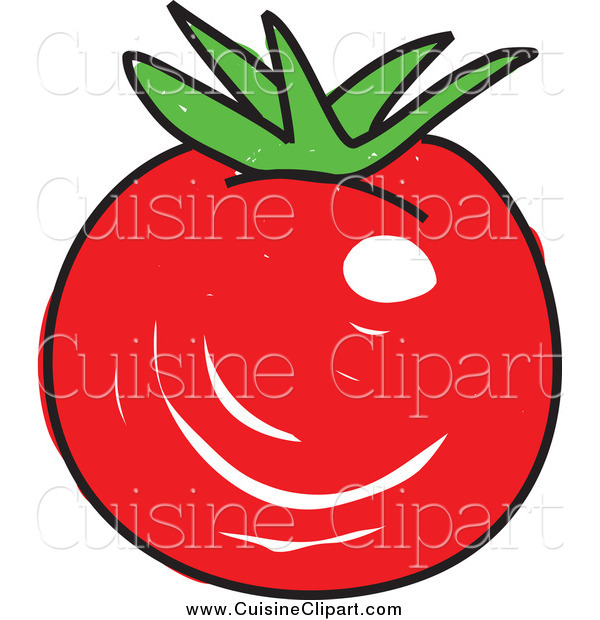 Cuisine Clipart of a Sketched Plump Red Tomato