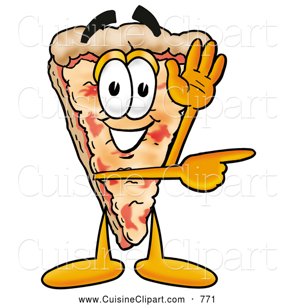 Cuisine Clipart of a Slice of Cheese Pizza Mascot Cartoon Character Waving and Pointing