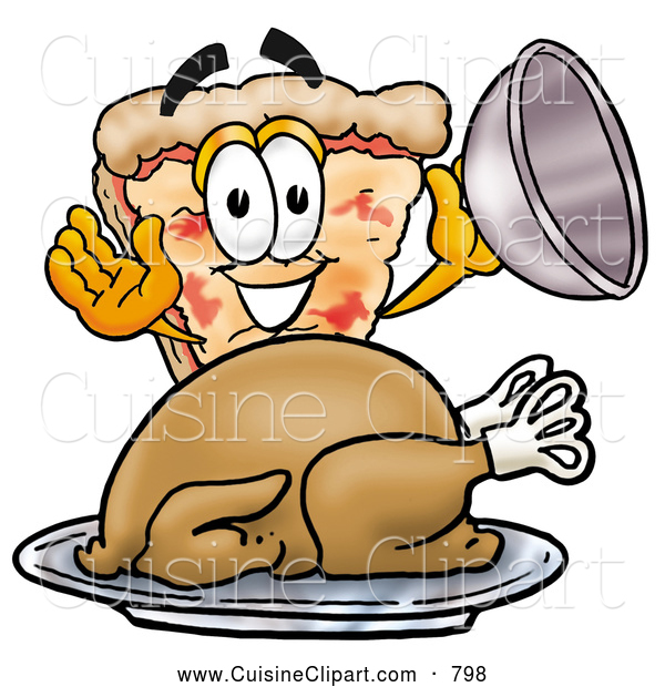Cuisine Clipart of a Slice of Cheeze Pizza Mascot Cartoon Character Serving a Thanksgiving Turkey on a Platter