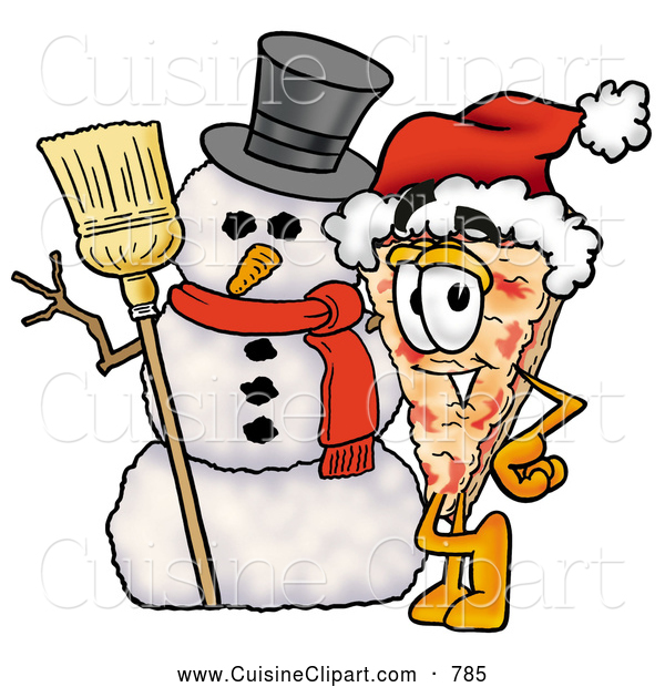 Cuisine Clipart of a Slice of Happy Pizza Mascot Cartoon Character with a Snowman on Christmas