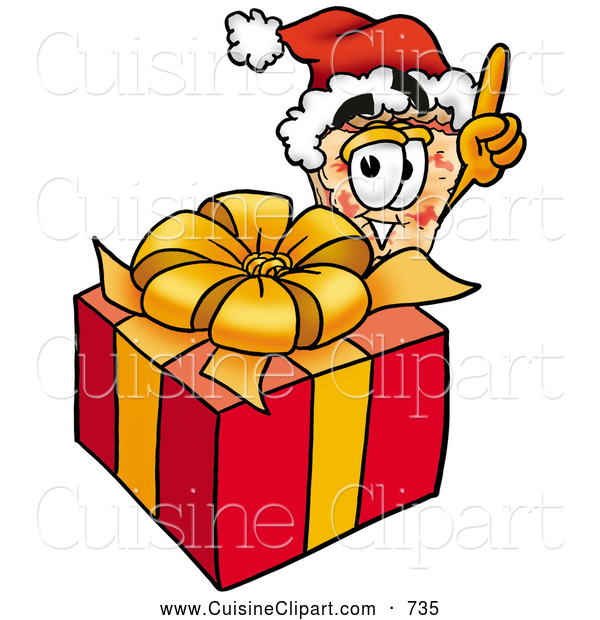 Cuisine Clipart of a Slice of Pizza Mascot Cartoon Character Standing by a Wrapped Christmas Present