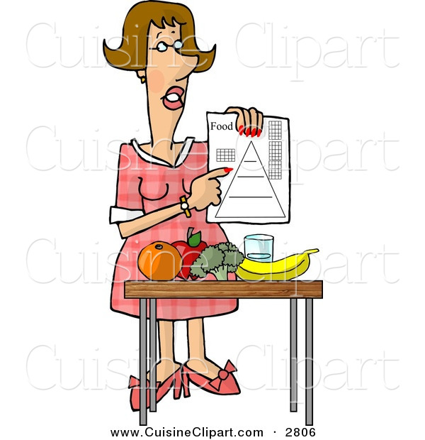 Cuisine Clipart of a Smart Female Dietitian Teaching the Public About Food and Nutrition